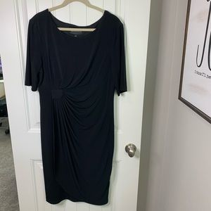 Connected ruched waist LBD modest black dress 16
